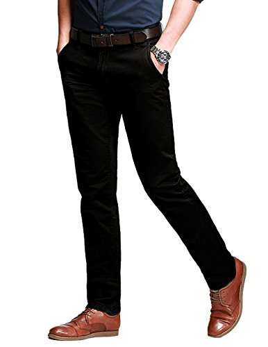 Match Men's Slim Fit Tapered Stretchy Casual Pants (32W x 31L, 8123 Black)
