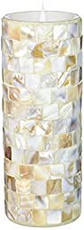 SIMPLUX LM13014 Moving Wick Square Shells Mosaic Flameless Candle, 3 x 8\