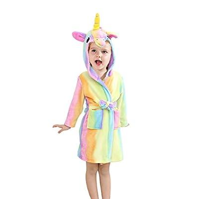 TOLLION Toddlers/kids Unicorn Hooded Robe Soft Fleece Bathrobe Children Pajamas Baby Plush Robe
