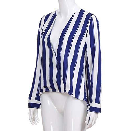 Magliette scollo maniche a da donna Blu Camicie V a Donna a alto Elecenty lunghe T Elegante Shirt collo Top Elegante da wFvqF6ga