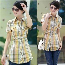 Verano para Mujer Ropa estilo coreano de manga corta cuadros blusa primavera Plus tamaño largo Slim