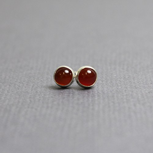 Red Carnelian Earrings (Red Carnelian Stud Earrings, 4mm Red Post Earrings, Sterling Silver)