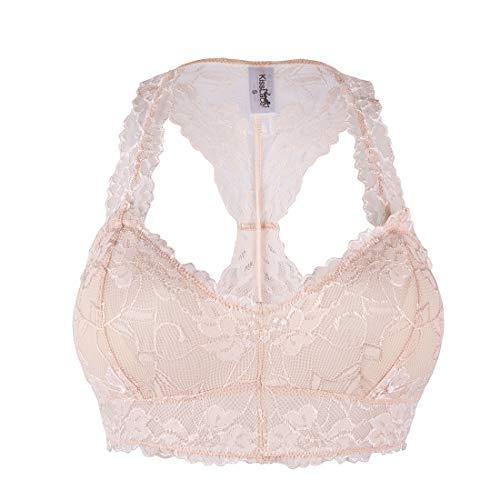 SAYFUT Women's Floral Lace Racerback Bralette Bustier Breathable Crop Top (Best Sayfut Bustiers)