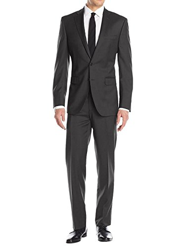 LN LUCIANO NATAZZI Men's Suit 2 Button Modern Fit Blazer Birdseye 2 Piece Set (42 Short US / 52S EU/W 36