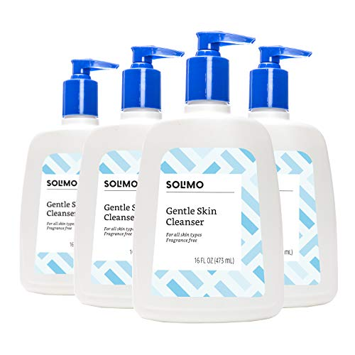 Amazon Brand - Solimo Gentle Skin Cleanser, Fragrance-free, 16 Fluid Ounce (Pack of 4) (Best Cleansing Face Wash For Sensitive Skin)