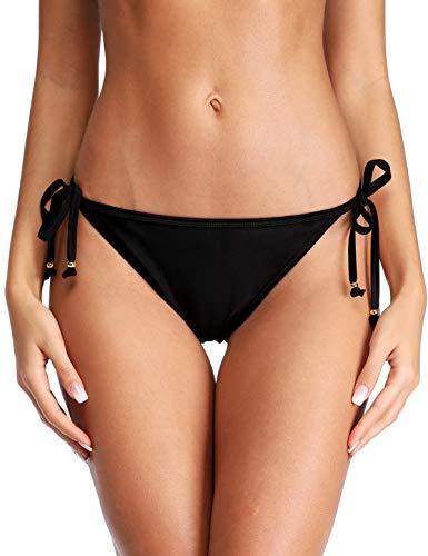 eulo Womens Solid Swim Bottoms Briefs Strappy Bikini Bottoms Swimwear Swim Shorts Black S