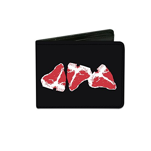 Price comparison product image Steaks w / MEAT Text Design Artwork - Bi-Fold Wallet