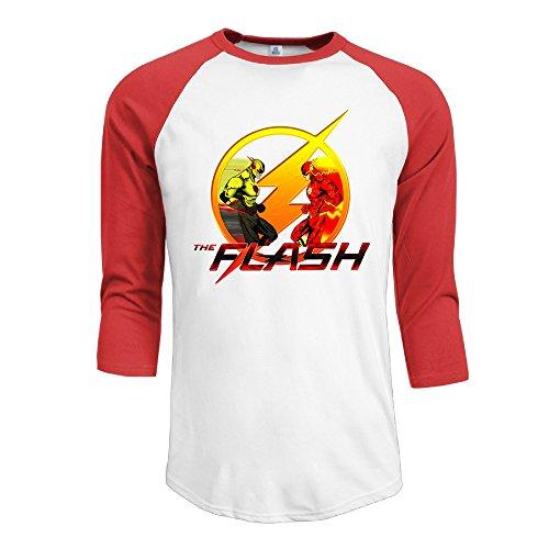IYaYa Flash Vs Reverse Flash Men's 3/4 Sleeve Raglan Baseball Shirt