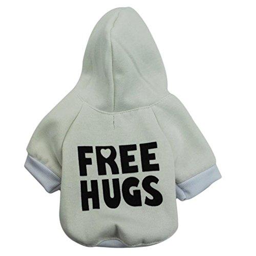 Fleece Dog Hoodies,Rdc Pet Apparel 'Free Hugs' Patterns Basic Hoodie Sweatshirt, Cotton Jacket Coat for Samll Dog & Medium Dog & Cat (Green) (XS)