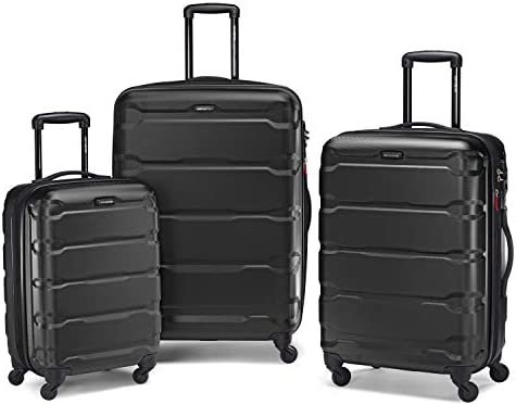 Samsonite Omni PC Hardside Expandable Luggage with Spinner Wheels, Black, 3-Piece Set (20/24/28)
