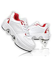 Double-Row Deform Wheel Automatic Walking Shoes Invisible Deformation Roller Skate 2 in 1 Removable Pulley Skates Skating Parkour