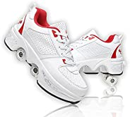 Double-Row Deform Wheel Deformation Automatic Walking Shoes Invisible Roller Skate 2 in 1 Removable Pulley Ska