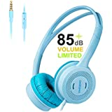 Kids Headphones-Headphones for Kids with 85dB Volume Limited Headset for iPad Cell Phone iPod MP3 Kindle,Over Ear Headphones with in-line Mic and 3.5mm Audio Jack,Kids Friendly Safe Material(Blue)