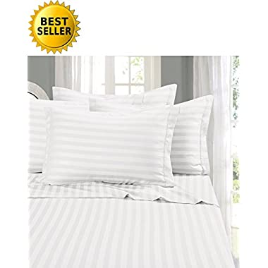 Elegant Comfort #1 RATED Bed Sheet Set on Amazon - Silky Soft - 1500 Thread Count Egyptian Quality Luxurious Wrinkle, Fade, Stain Resistant 6-Piece STRIPE Bed Sheet Set, Queen White