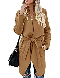 Women's Wool Blend Coat Wrap Lapel Belted Pea Overcoat Casual Long Sleeve Trench Outwear Jacket with Pockets