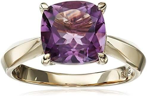 10k Yellow Gold Cushion Cut Gemstone Semi Precious Ring, Size 7