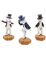BWWNBY 3pcs/Set Mummy Statue, Dancing On The Pumpkin Halloween Decoration Mummy Statue Home Car for Car Dashboards, Desks, Home and Office Decoration, Gift for Friends(as Shown)