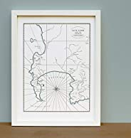 Cape Town South Africa, Letterpress Map Print