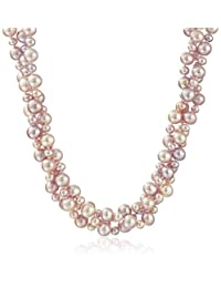 Sterling Silver High-Luster Twisted Three-Row Cultured Freshwater Pearl Strand (4-8mm), 18""