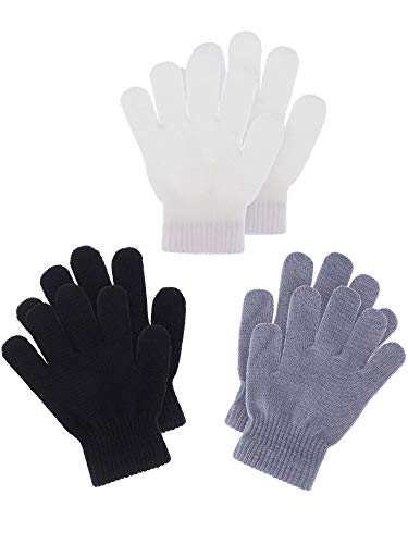 Boao 3 Pairs Kids Gloves Full Finger Mittens Winter Knitted Gloves for Little Boys and Girls Supplies (Color Set 2, 1-4 Years Size)