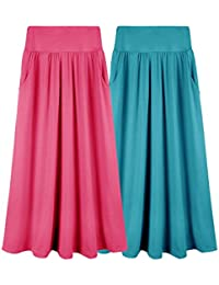 Girls 1-3 Pack 7-16 Years Poly or Rayon Solid Maxi Skirt with Pockets (S-XL)