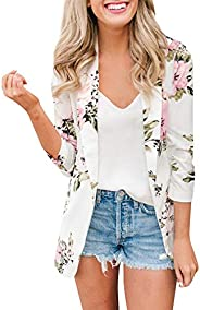 nikunLONG Collar Coat Blazer Outerwear Retro Blazer Floral Work Jacket Work Office Tops