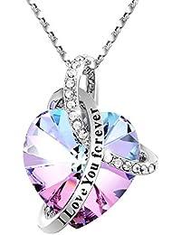 Heart Crystal Pendant Necklace, Elegant Bracelet, Adan...