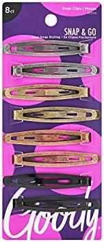 Prendedores de cabelo ovais Goody com contorno de metal, cores podem variar, 8 unidades (1942205)