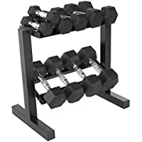 CAP Barbell 150-lb Rubber Hex Dumbbell Weight Set (5-25 lb with Black Rack)