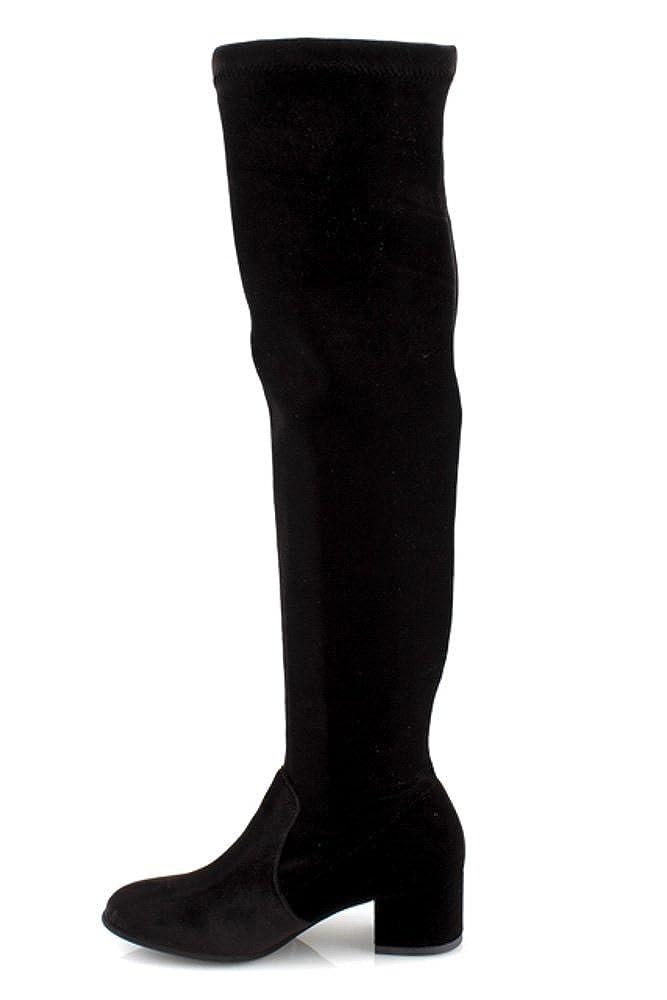 Stivali donna invernali elasticizzati eleganti tacco tacco tacco alto camoscio neri al ginocchio DAMIN0219 Nero 61542e
