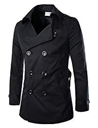Wanture Mens Winter Stand Collar Cotton Classic Double Breasted Peacoat