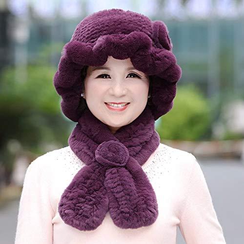 Dark purple Ladies Autumn Winter Wool Winter Scarf Mother Grandma Fur hat