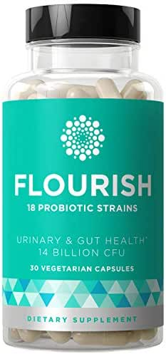 Flourish Probiotics Women & Men - Gut & Digestive Health, Urinary Tract, Prenatal & Pregnancy - 18 Potent Strains, 14 Billion CFU, Lactobacillus, Saccharomyces, Prebiotic - 30 Vegetarian Capsules