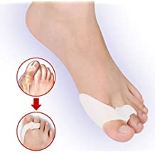 Healtheveryday® Upgraded 2nd Generation Soft Silicone Splint Pad Bunion Two Toe Straightener Spreader Corrector Protector Adjuster Separator Foot Pain Relief Unisex for Moderate Hallux Valgus (White)
