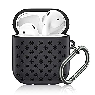 for Airpod Case, MARGE PLUS Airpods Case Cover Soft Dual-Layer Silicone with Anti-Lost Carabiner, Compatible for Apple Airpods 2&1 Charging Case (Front LED Visible)