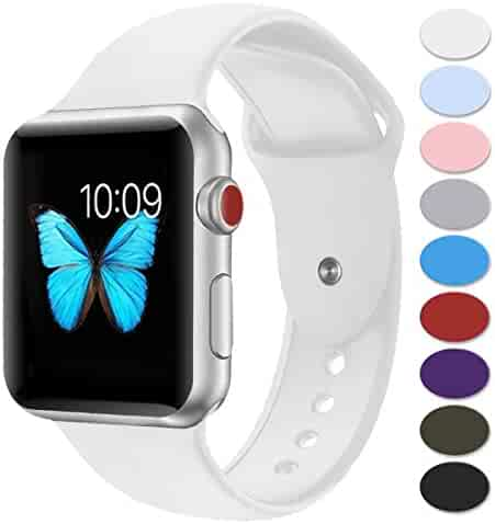 Sport Band Apple Watch 38mm,Misker Soft Silicone Strap Replacement Wristbands for Apple Watch Sport Series 3 Series 2 Series 1 Nike+ Sports and Edition (38SM White)