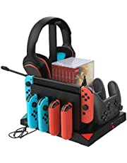 Vertical Charging Stand Storage Tower Compatible with Switch Joy Cons, Compatible with Pro Controllers with Cooling Fans Compatible with Nintendo Switch and Gaming Headset Stand