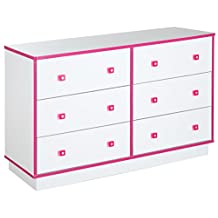 South Shore Furniture Logik 6-Drawer Double Dresser, Pure White and Pink