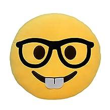 Emoji Emoticon Pillow Sofa Back Cushion Office Nap Bolster-Grin Black Glass