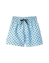 Azul Baby Boys Light Blue Polka Dot Drawstring Focal Point Swim Shorts 12-24M