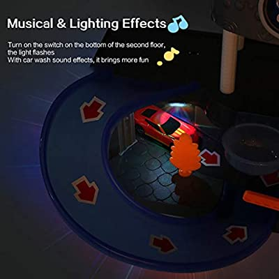 Yuege City Car Wash Connectable Play Set with Diecast and Mini Toy Car Ultimate Car Wash Playset Automatic Lift Car Wash Set Toy with Color Changing Alloy Cars for Kids: Sports & Outdoors