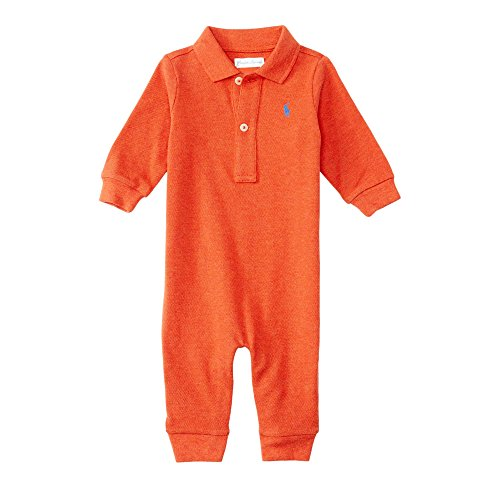 Ralph Lauren Baby Boys Cotton Mesh Polo L/S Coverall (6 Months, Varsity Orange Heather)