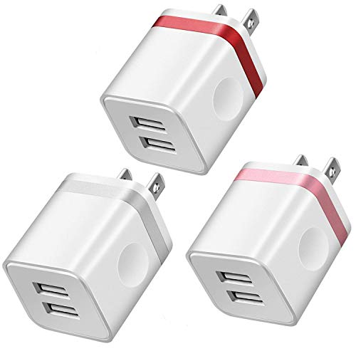 LEEKOTECH USB Wall Charger, [UL Certified] 2.1A/5V USB Plug Dual Port Power Adapter Charging Block Cube Compatible with iPhone/X/8/7/6S Plus, Samsung Galaxy S5 S6 S7 Edge, More Phones(3-Pack)