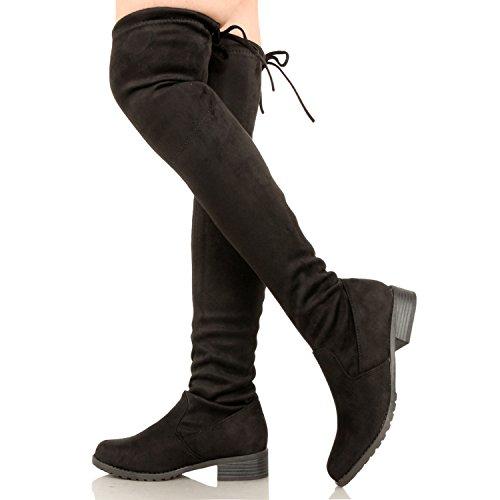 Guilty Schuhe Damen Komfortable Pull Up Low Block Ferse Geschlossene Zehe Stiefel - Overknee Oberschenkel Hohe Stiefel Schwarzes Wildleder