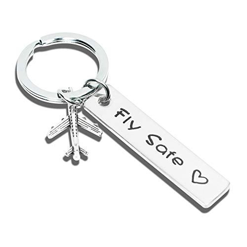 Pilot Gift Flight Attendant Gift Fly Safe Keychain Traveler Gift Family Friend Gift for Husband, Boyfriend, dad