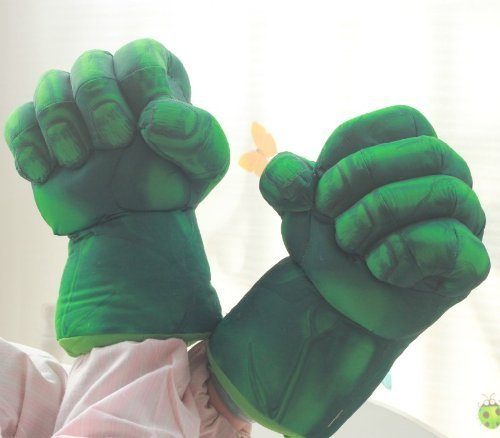 The Hulk Smash Hands Fists Big Soft Plush Gloves Pair Costume Green -