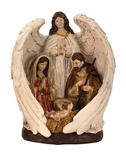 Engel mit Heiliger Familie Maria Josef Jesus Weihnachtsfigur Krippe 27,5 x 22,5 cm Weihnachten Deko
