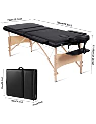 MaxKare Portable Massage Table 84'' With Carrying Bag & Accessories, 3 Fold, Extra Wide, Black.