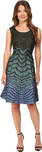 Alberta Ferretti Women's Sleeveless Zigzag Dress, Teal Multi, - Sleeveless Ferretti Alberta