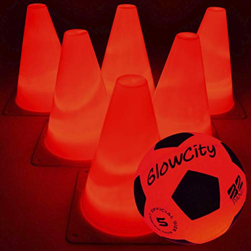 GlowCity Light-Up Soccer Ball and Cones - Blazing Red Edition Glow-in-The-Dark Size Official 5 Ball and 6 LED Agility Cones - Ideal for Youth Training, Indoor or Outdoor Play - Batteries Fitted (Red)